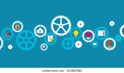 Business concept illustration banner. Gear wheel (technology) and people's life.