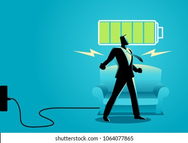 Business concept illustration of a businessman after getting restful sleep and waking up energized
