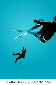 Business concept illustration of a businessman climbing on rope meanwhile a giant hand with scissors is cutting the rope