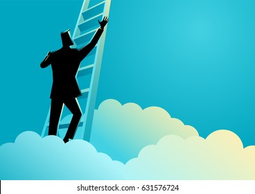 Business concept illustration of a businessman climbing a ladder above the clouds