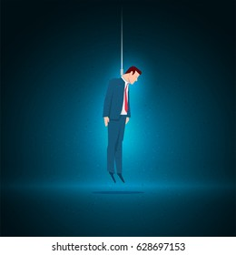 Business concept illustration. The businessman committed suicide by hanging himself. Elements are layered separately in vector file.