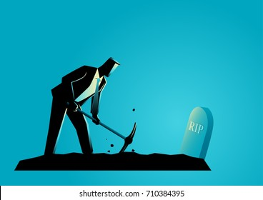 Business concept illustration of a businessman digging his own grave