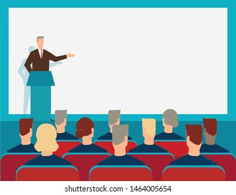 Business concept illustration of businessman giving a presentation on big screen. Audience, seminar, conference theme