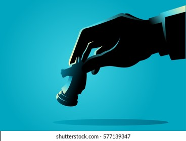 Business concept illustration of a businessman hand holding chess knight piece, strategy, strategic move concept