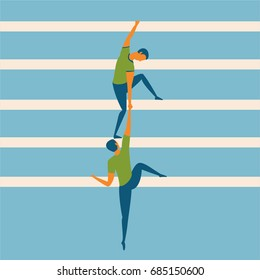 Business concept illustration of a businessman helping his partner to climb the ladder; cartoon flat illustration for collaboration and teamwork
