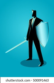 Business concept illustration of a businessman holding a sword and shield, preparation, protection, precaution in business concept
