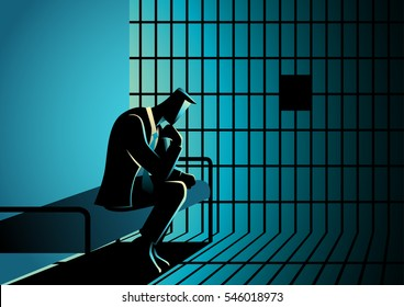 Business concept illustration of a businessman in jail