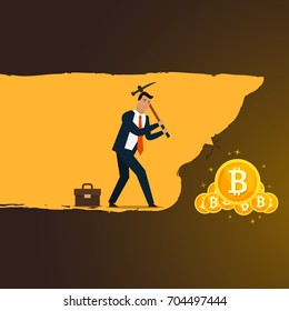 Business concept illustration. Businessman mining to find bitcoins and earning cryptocurrency. Flat style vector illustration.