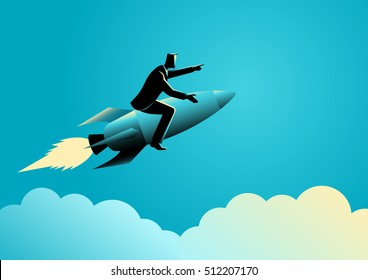 Business concept illustration of a businessman on a rocket