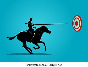 Business concept illustration of a businessman on horseback charging in a joust with lance trying to hit the target