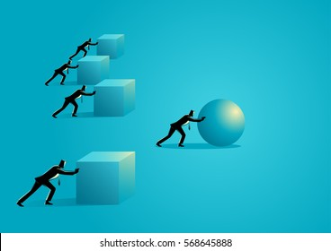 Business concept illustration of a businessman pushing a sphere leading the race against a group of slower businessmen pushing boxes. Winning strategy, efficiency, innovation in business concept