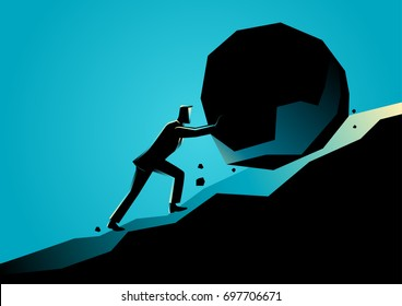 Business concept illustration of a businessman pushing large stone uphill