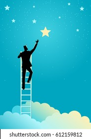 Business concept illustration of a businessman reach out for the stars