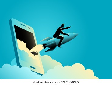 Business concept illustration of a businessman riding a rocket comes out from smart phones' screen. Start up business, business launching concept