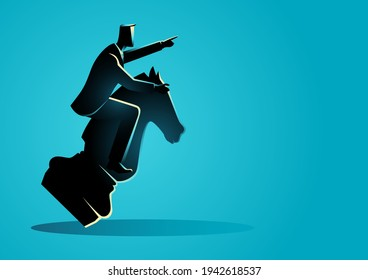 Business concept illustration of a businessman riding a chess knight, strategy, strategic move in business concept