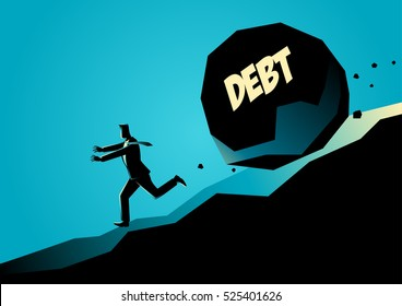 Business concept illustration of a businessman running away from big stone with message debt that is rolling down to him