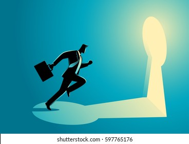 Business concept illustration of a businessman running towards a key hole. Business, chance, opportunity, success concept