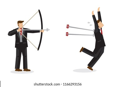 Business concept illustration of a businessman shooting arrows at another businessman, trying to eliminate him. Concept of backstabbing, sabotage and corporate culture. Vector Illustration.