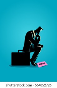 Business concept illustration of a businessman sitting on suitcase sadly because got a pink slip