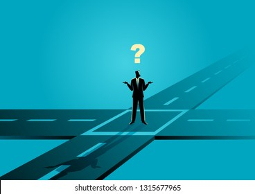 Business concept illustration of a businessman standing at the intersection or crossroads, confused, uncertainty, making choice concept