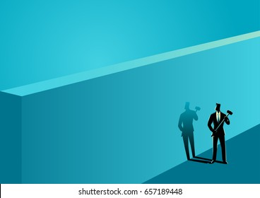 Business concept illustration of a businessman standing near wall with a hammer