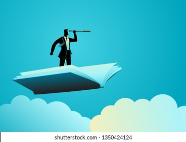 Business concept illustration of businessman using telescope on flying book, knowledge, references, opportunity, vision in business