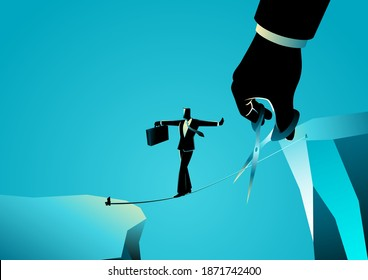 Business concept illustration of a businessman walking on rope over a ravine, meanwhile a giant hand with scissors is cutting the rope