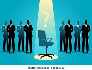 Business concept illustration of businessmen standing with empty chair in the middle, candidate, promotion, career position concept.