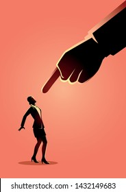 Business concept illustration of a businesswoman being pointed by giant finger