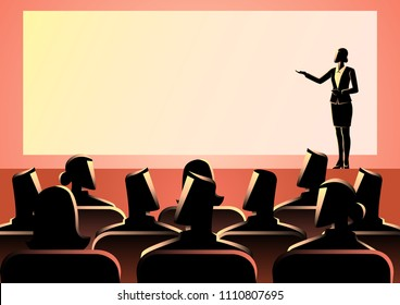 Business concept illustration of businesswoman giving a presentation on big screen. Audience, seminar, conference theme