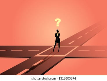 Business concept illustration of a businesswoman standing at the intersection or crossroads, confused, uncertainty, making choice concept