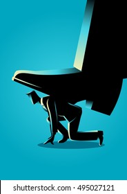 Business concept illustration of giant foot trampling a businessman