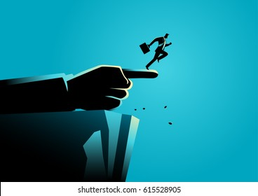 Business concept illustration of a giant hand pointing to the wrong way to a businessman