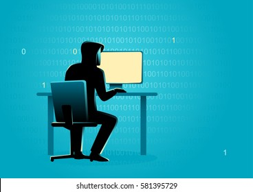 Business concept illustration of a hacker behind desktop computer