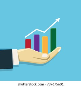 Business concept illustration Hand holding graph chart, financial growth