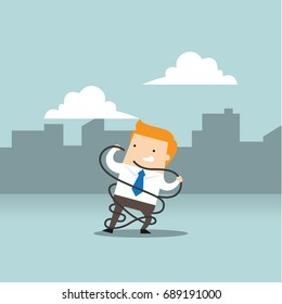 Business concept illustration of a business man get tangled by a problem