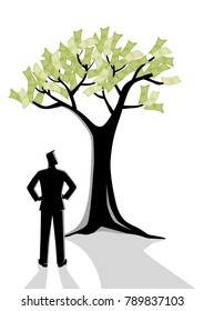 Business concept illustration of a man looking at money tree