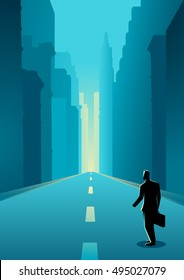 Business concept illustration of a man on city street among buildings