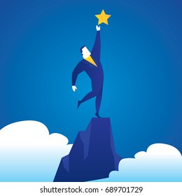Business concept illustration of a business man reaching a star
