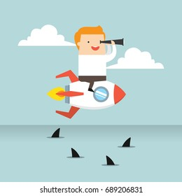 Business concept illustration of a business man riding a flying rocket