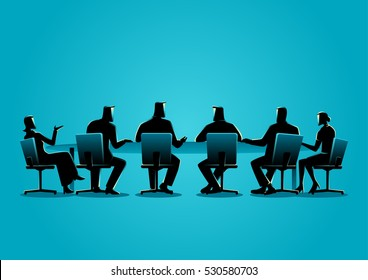 Business concept illustration of a business people having a meeting