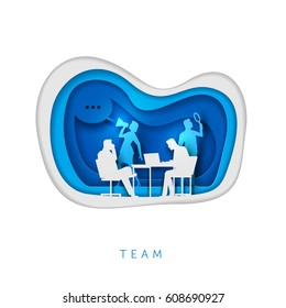 Business concept illustration. Business people working. Paper art style vector illustration. Elements are layered separately in vector file.