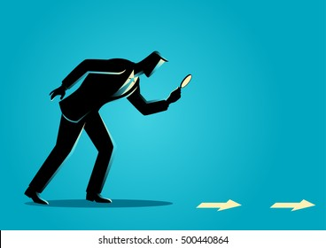 Business concept illustration. Searching, details, clue