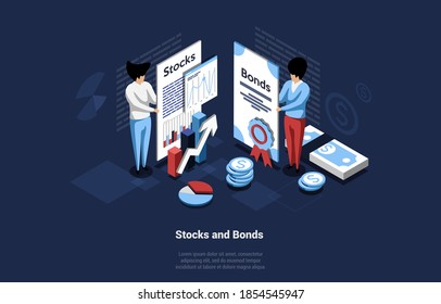 Business Concept Illustration Of Stocks And Bonds On Dark Background. Vector Composition In Cartoon 3D Style. Two Businessmen Characters Holding Big Papers With Information Of Guarantee And Success