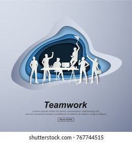 Business concept illustration for teamwork successful business people. Paper art style vector illustration.