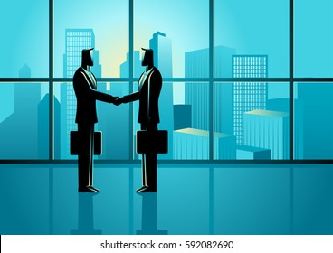 Business concept illustration of two businessmen shaking hands with cityscape as the background