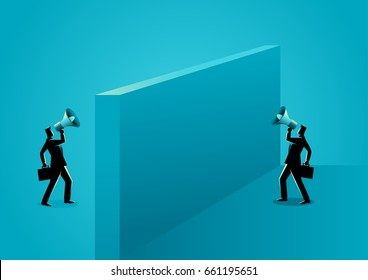Business concept illustration of two businessmen shouting each other with megaphone separated by wall
