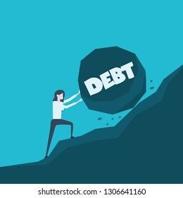 Business concept illustration of a business woman pushing big stone with message debt on her way up to the top