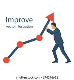 Business concept. Improve. Changing direction. Growth graph trade. Vector flat design. Profit Stock Market. Man changing direction business chart. Financial diagram.