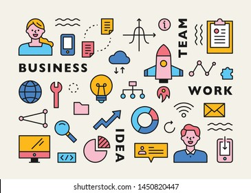 Business concept infographic icons. flat design style minimal vector illustration.